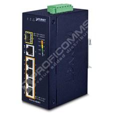 Planet IGS-614HPT: L2 industriální PoE+ switch bez managementu, 4* 10/100/1000T PoE+, 1* 10/100/1000T + 1* 100/1000X SFP, -40 až 75 C, duální 12V~56V DC