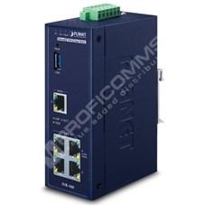 Planet IVR-100: Průmyslová L3 VPN security gateway (router), dual-WAN funkcionalita, outbound load balancing, stavový firewall, blokování DoS/DDoS útoků, IPsec VPN, redundantní 9-48 V DC vstupy