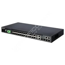 Edge-Core ECS4120-28F-I: Gigabit Ethernet L2 switch s 10GE uplinkem 28 port, zdroj AC+DC, zvýšená teplotní odolnost -10 - 65°C