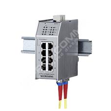 Microsens MS650861M: Průmyslový Gigabit Ethernet L2 switch, 7x 10/100M RJ45, 2x GE MM, 1x GE Combo RJ45/fixní optický MM port, provozní teploty -20°C až +60°C