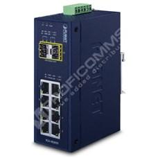 Planet IGS-1020PTF: L2 industriální PoE+ switch bez managementu, 8* 10/100/1000T 802.3at PoE+, 2* 100/1000X SFP, -40~75 C, PoE až do 250 m, duální 48V~56V DC