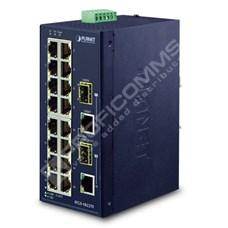 Planet IFGS-1822TF: L2 industriální switch bez managementu, 16* 10/100TX + 2* 1 Gb TP/SFP Combo porty, (-40 až 75 C, duální vstupy na 12-48VDC / 24VAC)